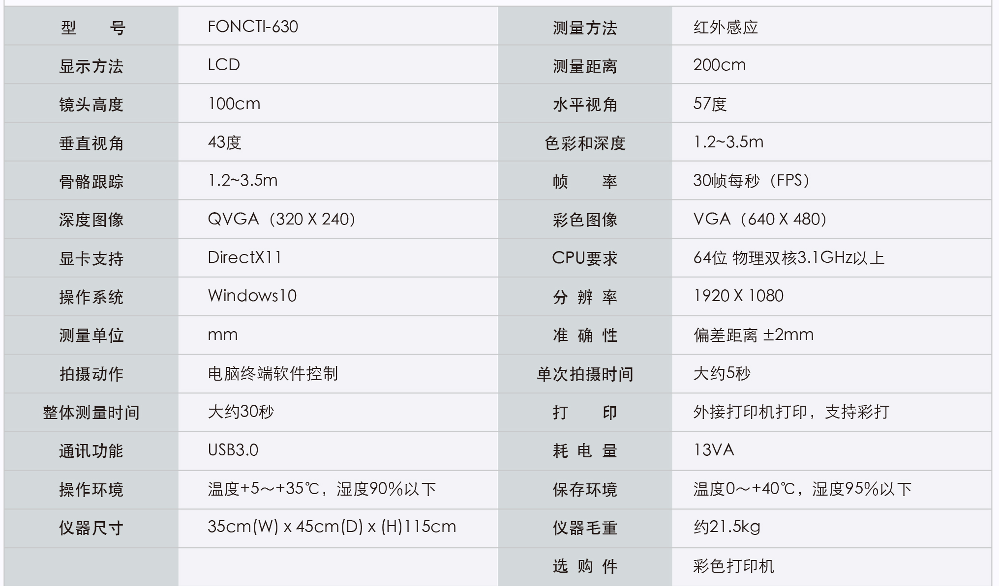 FONCTI-630姿态评估系统参数
